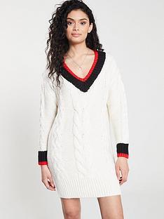 river-island-river-island-stripe-detail-cable-knit-jumper-dress--cream