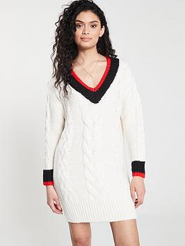 river-island-river-island-stripe-detail-cable-knit-jumper-dress--cream