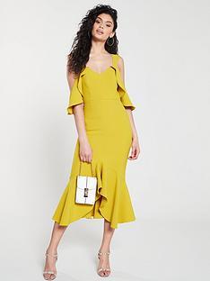 river-island-river-island-frill-detail-bodycon-midi-dress--yellow