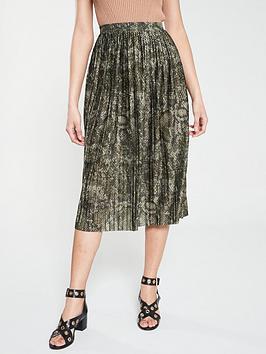 river-island-river-island-snake-print-pleated-midi-skirt--khaki
