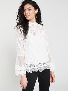 river-island-river-island-lace-high-neck-long-sleeve-top--white