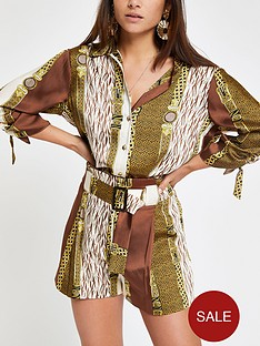 ri-petite-ri-petite-chain-print-tie-belt-shorts--brown
