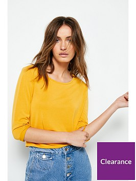 v-by-very-the-essential-premium-34-sleeve-soft-touch-t-shirt-mustard