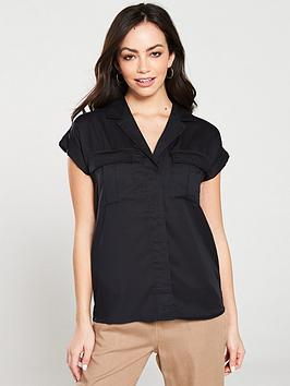 v-by-very-short-sleeve-utility-shirt-black