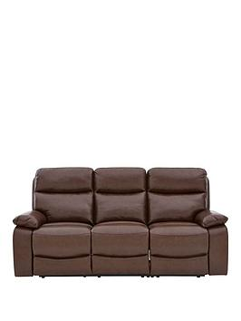 Very Hasting Real Leather/Faux Leather 3 Seater Manual Recliner Sofa Picture