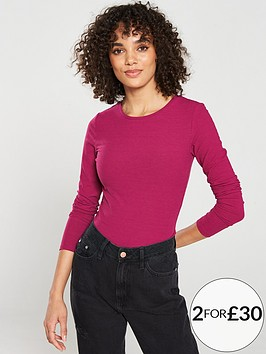 v-by-very-the-essential-ribbed-long-sleeve-top-berry
