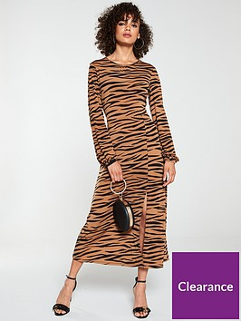 v-by-very-midaxi-split-front-dress-animal-print