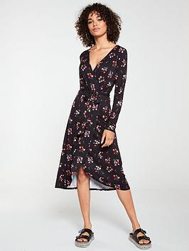 v-by-very-midi-wrap-three-quarter-sleeve-dress-black-floral