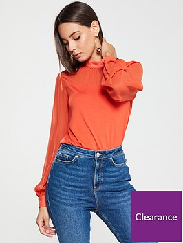v-by-very-chiffon-panel-high-neck-top-scarlet-red