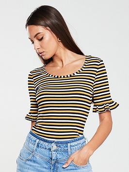 v-by-very-ribbed-frill-sleeve-top-stripe