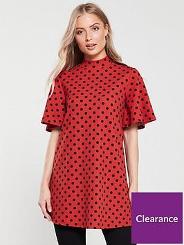 v-by-very-short-sleeve-tunic-spot-print