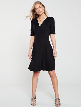 v-by-very-shirred-detail-jersey-dress-black
