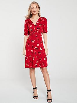 v-by-very-shirred-detail-jersey-dressnbsp--floral-print