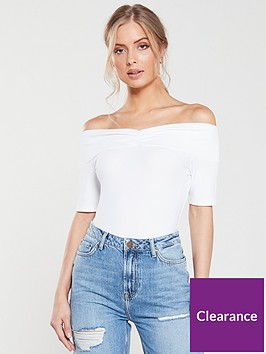 v-by-very-ribbed-ruched-front-bardot-top-white