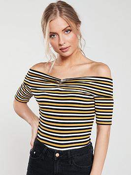v-by-very-ribbed-ruched-front-bardot-top-stripe