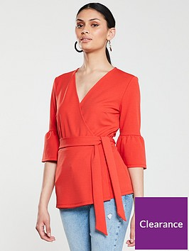 v-by-very-wrap-frill-sleeve-top-red