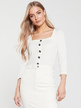 v-by-very-button-front-ribbed-top-cream