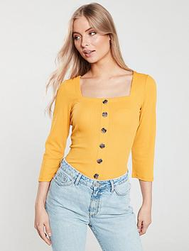 v-by-very-button-front-ribbed-top-mustard