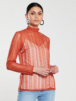 v-by-very-sheer-lace-high-neck-top-rust