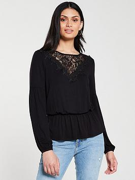 v-by-very-lace-trim-elasticated-waist-top-black