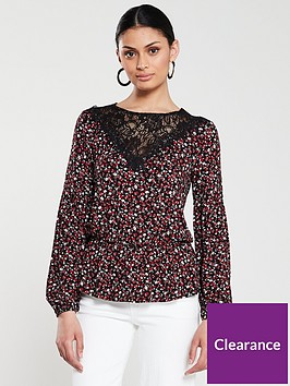 v-by-very-lace-trim-elasticated-waist-top-black-floral