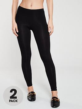 V by Very V By Very The Essential Tall 2 Pack Basic Leggings - Black Picture