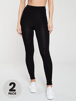 V by Very V By Very The Essential Tall 2 Pack High Waist Leggings - Black Picture