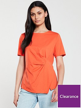 v-by-very-pleat-front-tee-orange