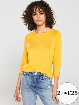 v-by-very-the-essential-three-quarter-sleeved-raglan-top-mustard