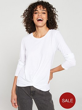 v-by-very-knot-front-long-sleeve-top-white