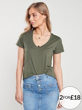 v-by-very-the-essential-v-neck-top-khaki