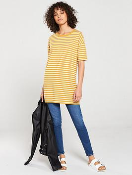 V by Very V By Very The Three Quarter Sleeve Longline Top - Cream Mustard Picture
