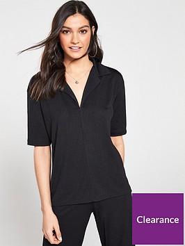 v-by-very-v-neck-collar-co-ord-top-black