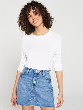 V by Very V By Very The Essential Three Quarter Sleeved Raglan Top - White Picture