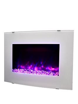 Swan Swan Swan Curved Wall Mounted Electric Fire - White / Pebble Picture