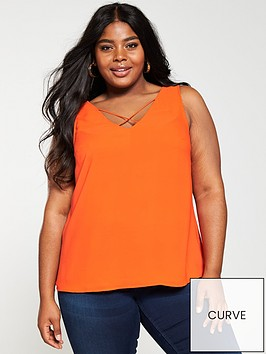 v-by-very-curve-cross-neck-caminbsp--orangenbsp