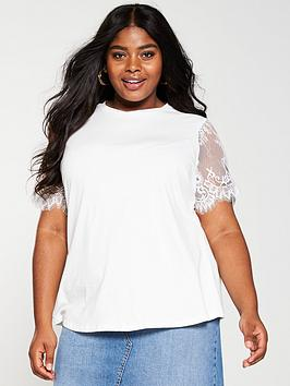 V by Very Curve V By Very Curve Lace Sleeve T-Shirt - Ivory Picture