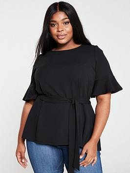 V by Very Curve V By Very Curve Stretch Belted Top - Black Picture
