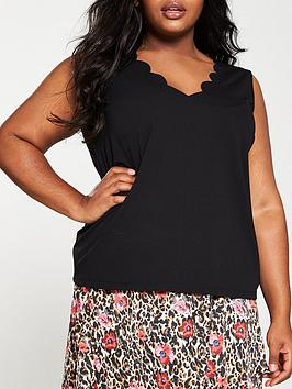 V by Very Curve V By Very Curve Scalloped Edge Cami - Black Picture