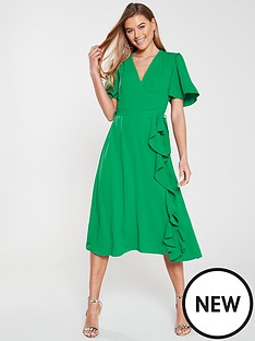 77b3ddecbdec8 V by Very Wrap Frill Midi Dress - Green