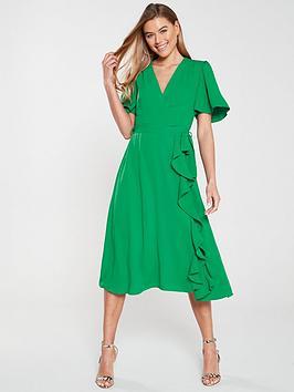 V by Very V By Very Vienna Wrap Frill Midi Dress - Green Picture