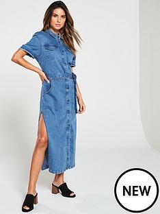 v-by-very-button-up-denim-midi-shirt-dress