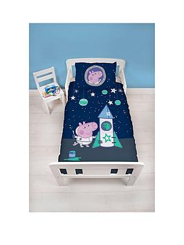 Product photograph showing Peppa Pig George Boom Toddler Duvet Cover Set