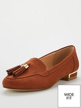 v-by-very-maraba-wide-fit-tassel-loafers-tan