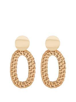 michelle-keegan-raffia-drop-hoop-earring-natural-gold