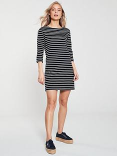 v-by-very-three-quarter-sleeve-jersey-dress-stripe