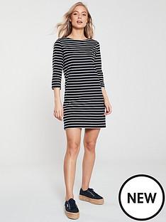 v-by-very-three-quarter-sleeve-jersey-dress-stripe