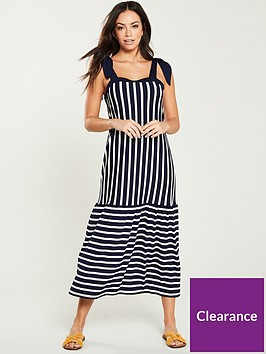 v-by-very-contrasting-stripe-loose-fit-midi-dress-blue