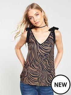 v-by-very-tie-detail-vest-animal-print