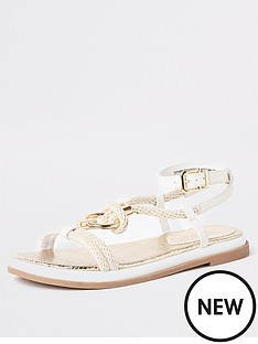 598a049c4e0 River Island River Island Rope Ring Flat Sandals - White